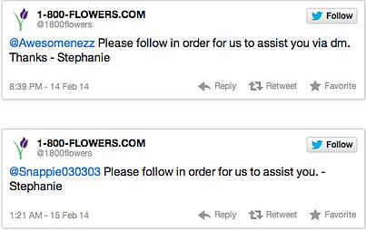 twitter 1-800 flowers issue stephanie